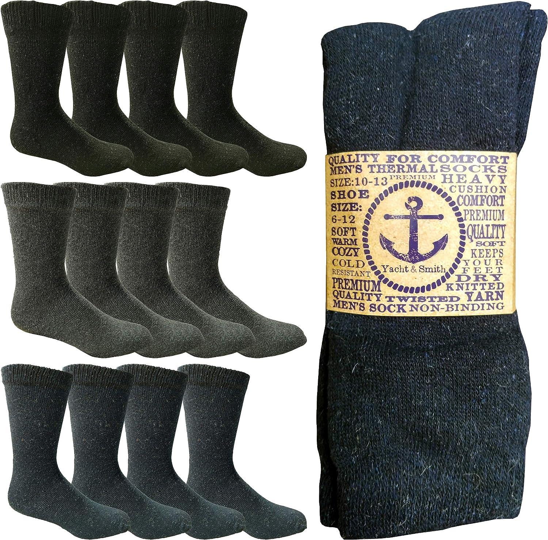 Yacht /& Smith 12 Pairs Merino Wool Thermal Boot Socks Mens Womens Hiking Winter Sock