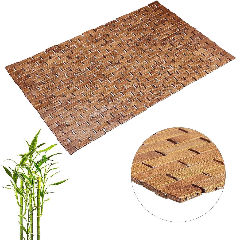 Relaxdays Braun Bambusmatte Aufrollbar Gummistopper Hygienisch