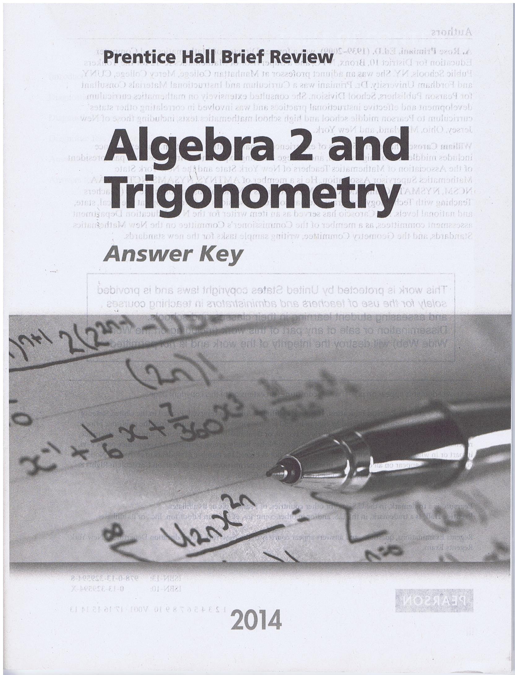 Read Online 2014 Brief Review Algebra 2 and Trigonometry Answer key pdf