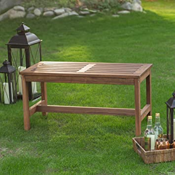Outdoor Wood Backless Bench, Durable Long Lasting Acacia Wood Part 46