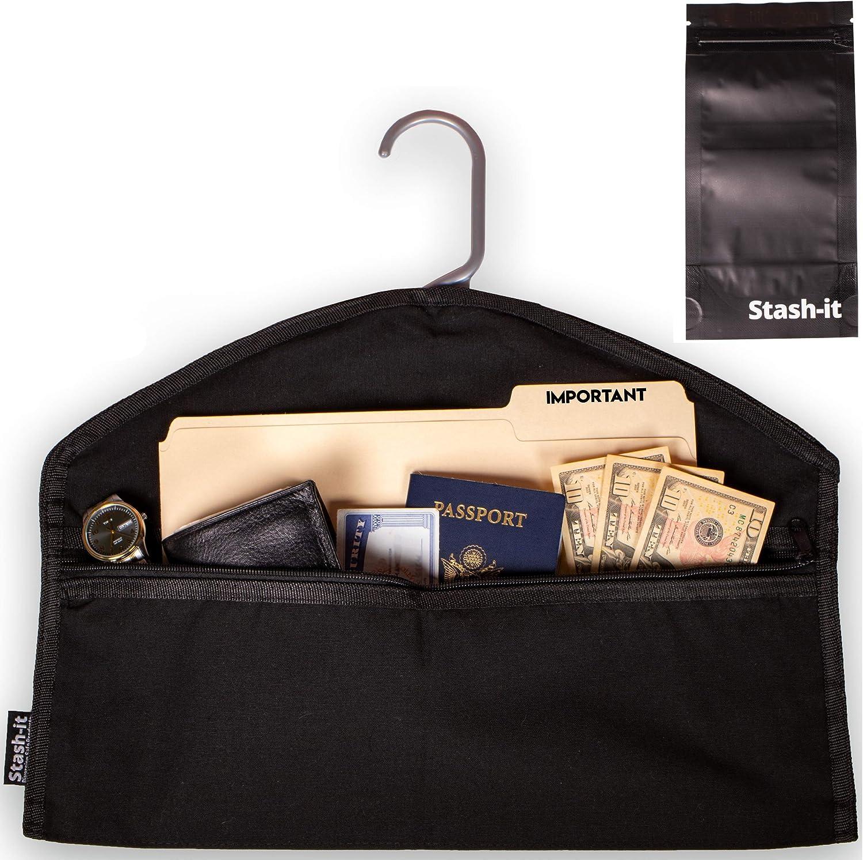 Hanger Diversion Safe by Stash-it, Hidden Pocket Safe, Fits Under Hanging Clothes with Pocket to Hide Valuables for Home or Travel with Bonus Smell Proof Bag