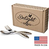 Delight Flatware Childrens Stainless Steel Flatware Set - Fork and Spoon Made in the USA -