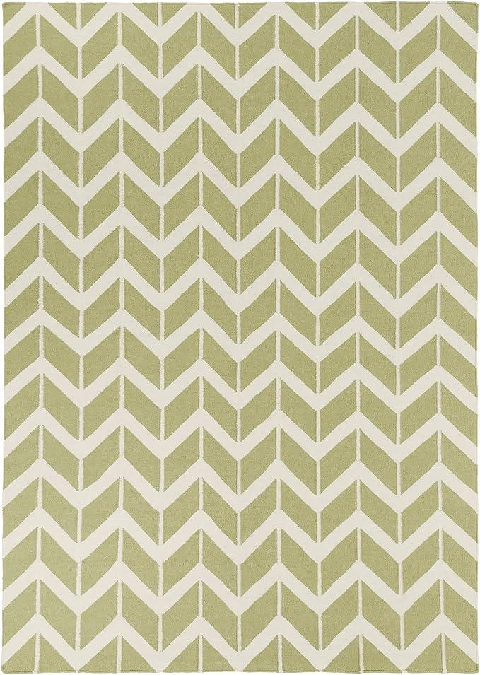 Amazon Com Surya Fallon Jill Rosenwald Chevron Flatweave Area Rug 8 Feet By 11 Feet Light Lime Winter White Furniture Decor