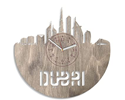 Dubai Wooden Wall Clock 12 Inch Modern Gift Idea For Adults Minimalist