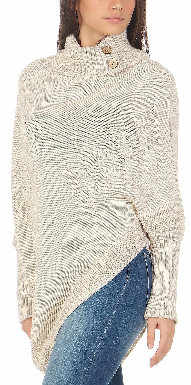 df85d57dda00b8 Malito Damen Poncho mit Strick Muster | Umhang im eleganten Design |  Überwurf - Weste - Jacke - Pullover 3830 (beige): Amazon.de: Bekleidung