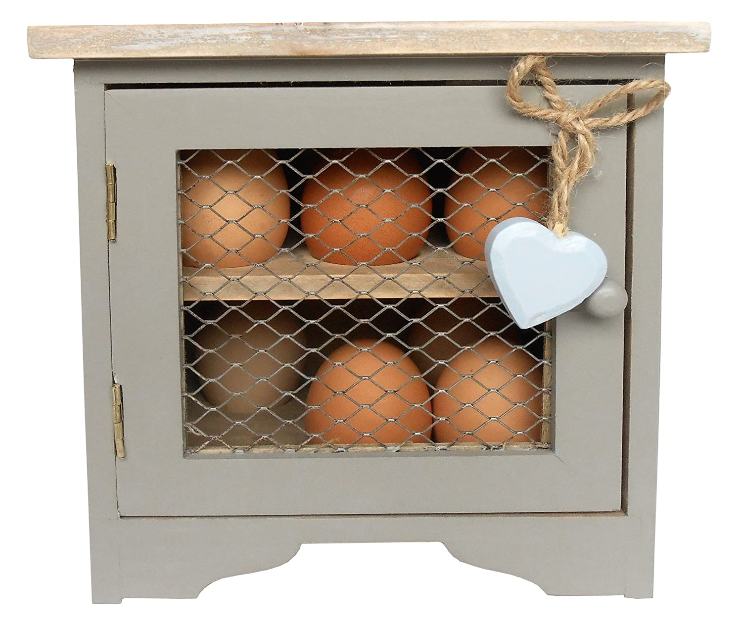 French Grey Egg Cabinet with Blue Hanging Heart.: Amazon.co.uk ...