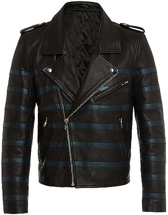 Veste Cuir Veritable pour Homme Noir Bleu Perfecto Cool