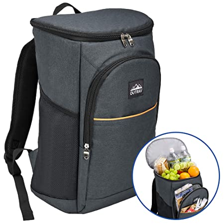 Outrav Black Camping Backpack Cooler Fully Insulated Cooling Bag with 3 Zippered Compartments and 2 Mesh Pockets 28 Can Capacity