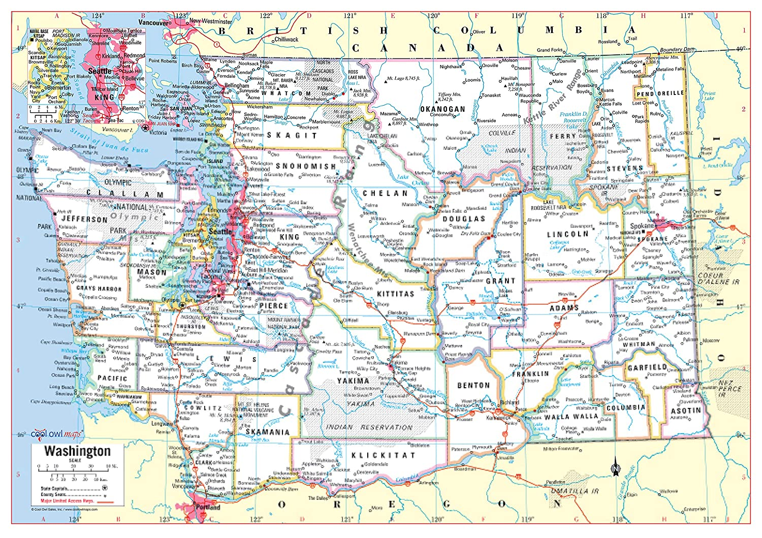 Cool Owl Maps Washington State Wall Map Poster Rolled (Paper 34\