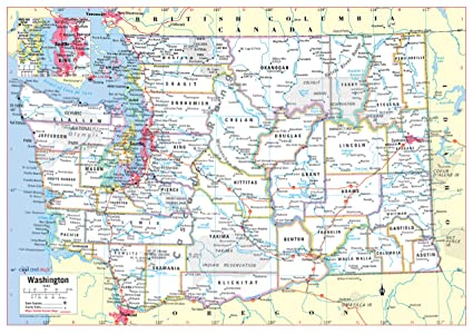 Amazon.com : Cool Owl Maps Washington State Wall Map Poster Rolled ...