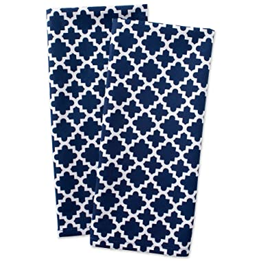 DII Cotton Lattice Dish Towels with Hanging Loop, 18 X 28  Set of 2, Fast Dry Kitchen Tea Towels for Everyday Cooking and Baking-Nautical Blue