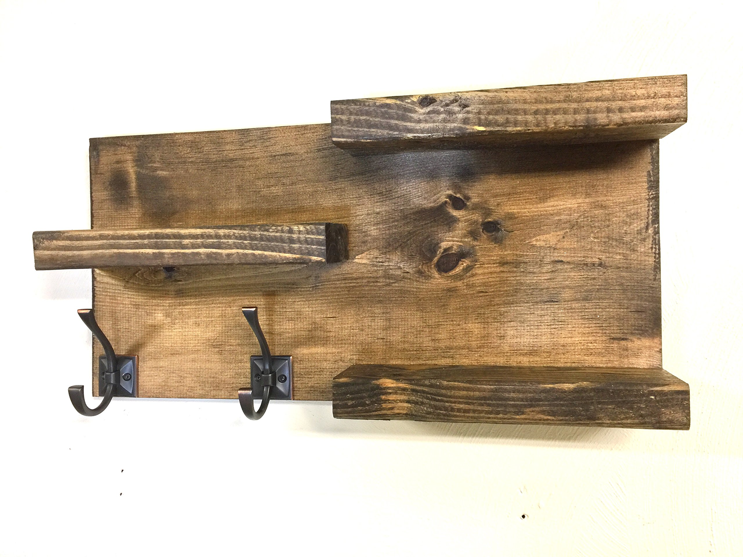 bathroom shelf Rustic 3 Tier with 2 Towel Hooks