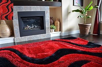 Amazon Com Fashion Style Soft Shag Area Rugs Red Black Color