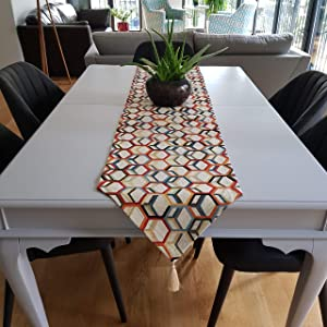 Secret Sea Collection Table Runners, Upholstery Fabric, 90'' x 14'', Honeycomb (Multi-Color)