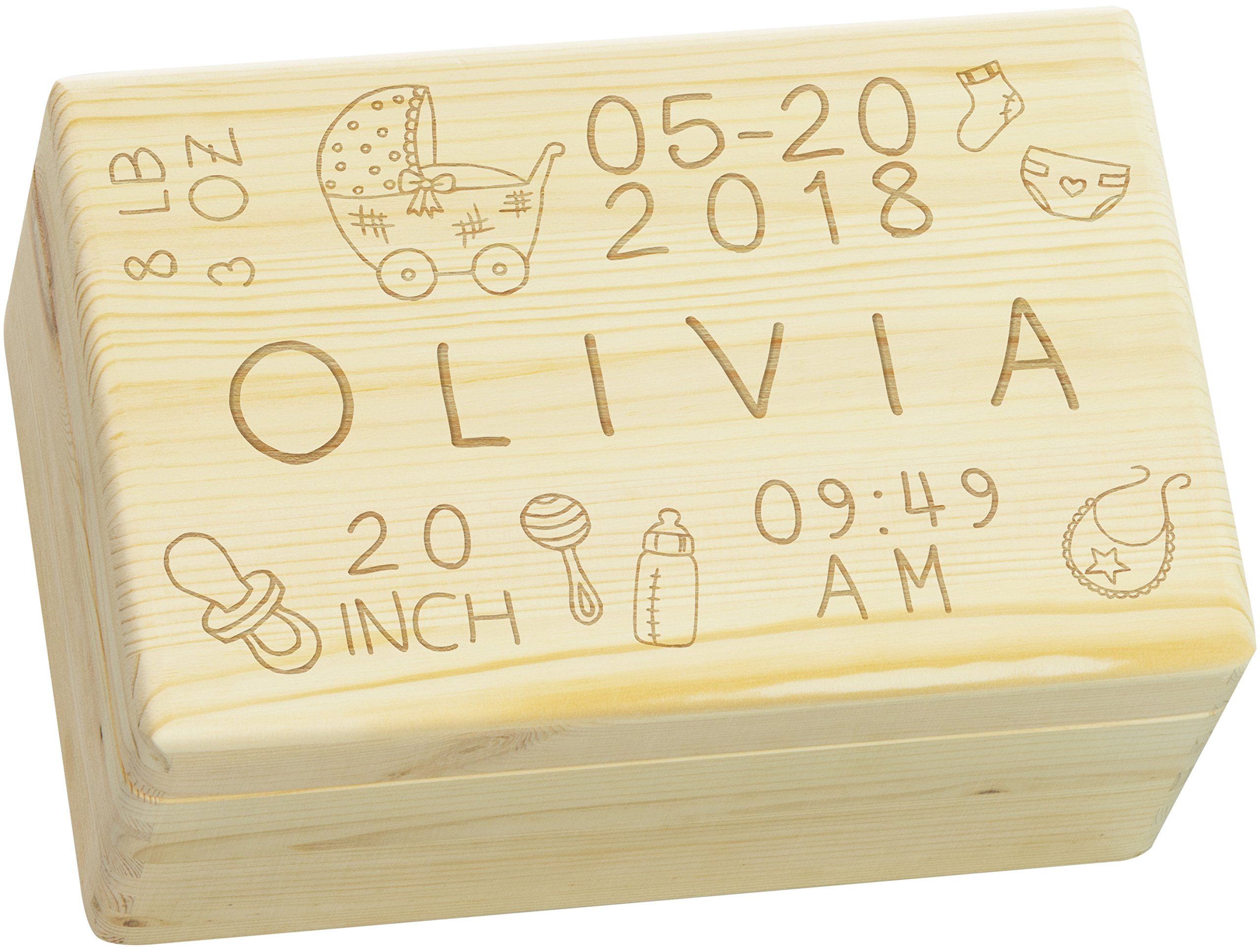 LAUBLUST Engraved Wooden Memory Box - Size L, 12x8x6in - ❤️ Personalized ❤️ Baby Keepsake Box - Rattle Design | Natural Wood - Made in Germany