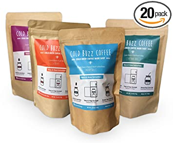 4-Flavor Cold Brew Iced Coffee 20 Bag Variety Set