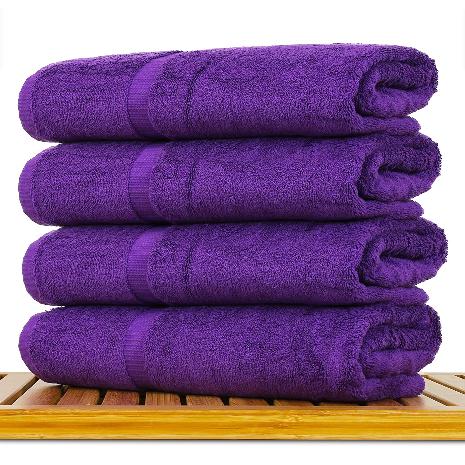 Luxury Hotel & Spa Towel Turkish Cotton Bath Towels - Eggplant - Dobby Border - Set of 4 4.3 out of 5 stars