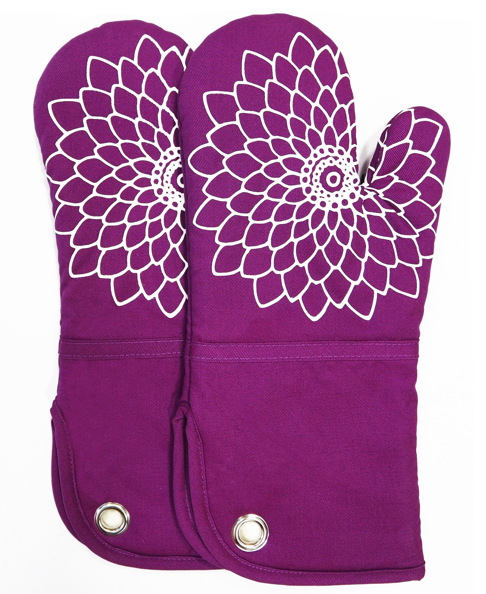 Silicone Printing Oven Mitts/Gloves 1 Pair, Heat Resistant to 500 Degree, Non-Slip for Home Kitchen Cooking Barbecue Microwave for Women/Men Machine Washable BBQ (Purple)