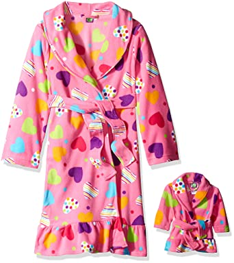 Amazon.com  Dollie   Me Big Girls  Hearts Printed Fleece Robe df32840cb