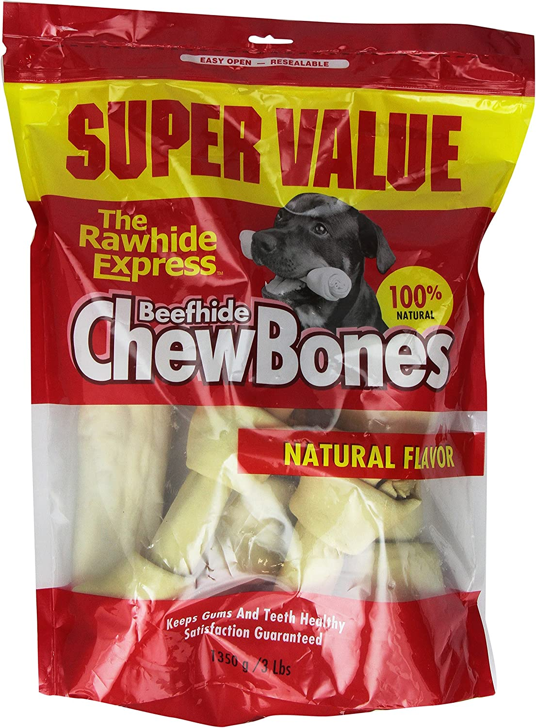 The Rawhide Express Natural 3-Pound Knotted Bones Dog Chew, Large