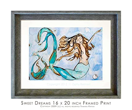 Amazing Mermaid Art   Framed Mermaid Wall Art Home Decor Titled Sweet Dreams By  Tamara Kapan With