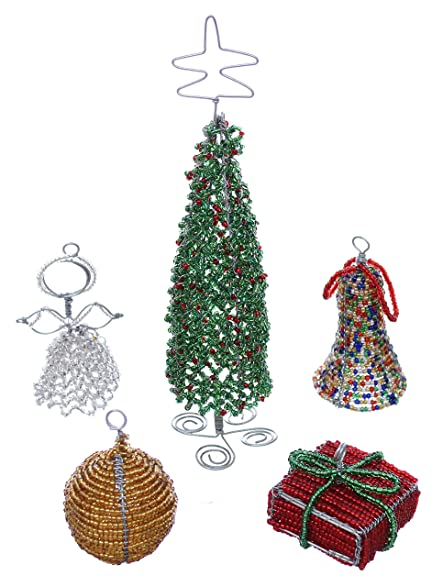 african beaded wire art christmas decorations set of 5
