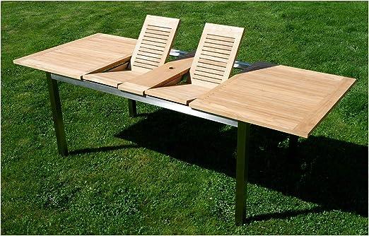 AS-S Kuba Mesa extensible de acero inoxidable de teca 160/220 x 90 cm, mesa de jardín, mesa de madera, mesa de comedor, acabado macizo, madera de teca de grado A: Amazon.es: Hogar