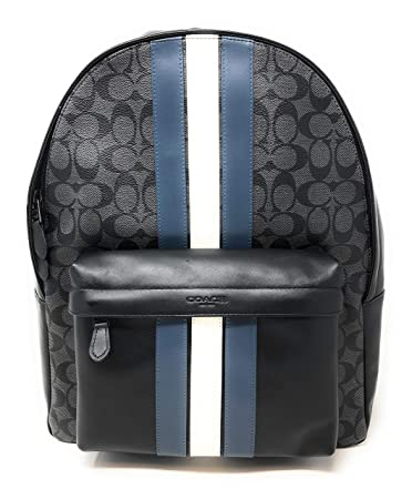 6eabe91cd9c0 COACH CHARLES BACKPACK IN SIGNATURE CANVAS WITH VARSITY STRIPE
