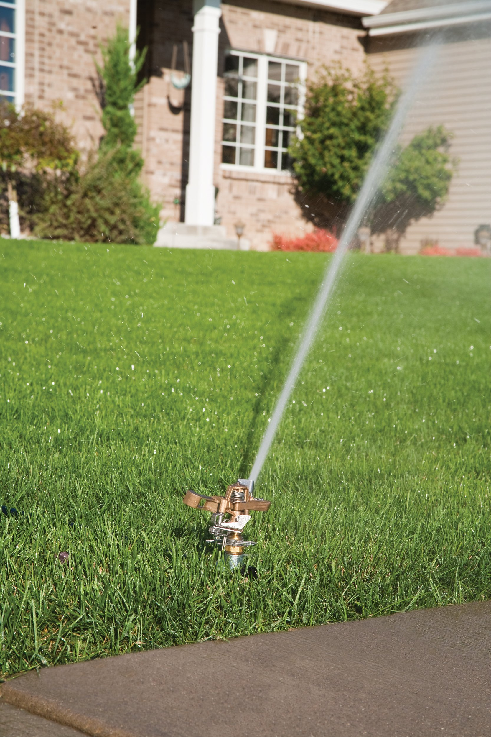 Rain Bird 25PJLSP Hose-End Brass Impact Sprinkler on Large Spike, Adjustable 20° - 360° Pattern, 20-41' Spray Distance