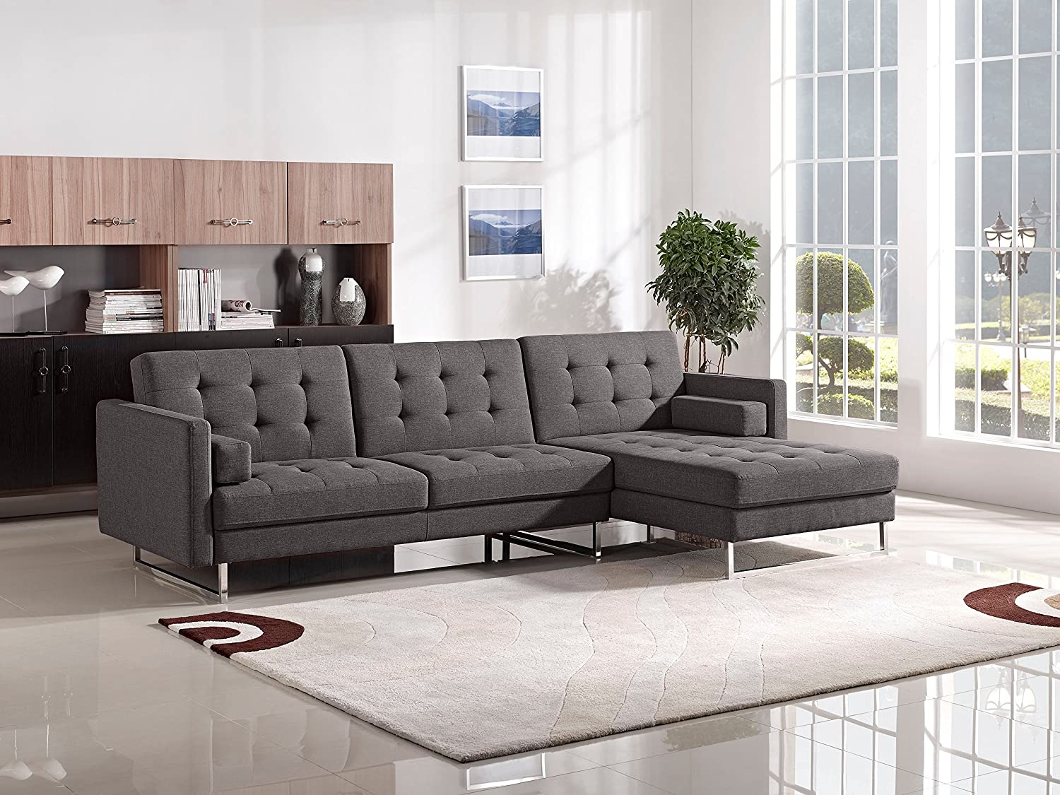 Amazon.com Opus Convertible Tufted RF Chaise Sectional by Diamond Sofa - GREY Includes Left Face Sofa Right Face Chaise- # OPUSRFSECTGR Kitchen u0026 Dining : grey chaise sectional - Sectionals, Sofas & Couches