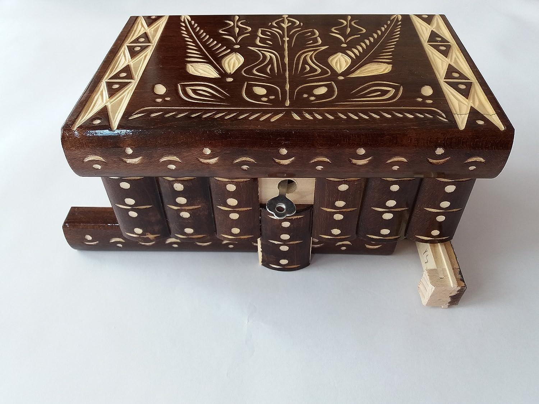 Big puzzle box brown jewelry box magic box new mystery wooden secret box tricky trinket handcarved wooden box hidden drawer key treasure