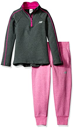 3bdc4d0f6b512 New Balance Little Girls' Pullover Top and Jogger Sets, Gray/Poisonberry,  ...