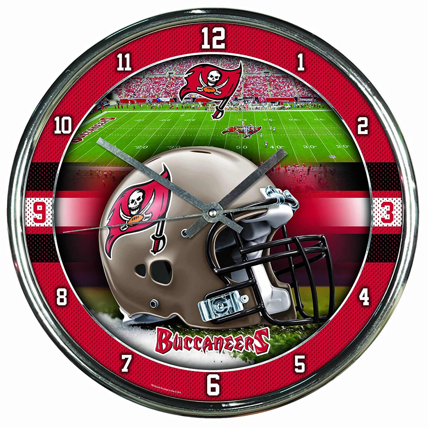 Nfl Football Team Chrome Wall Clock , Tampa Bay Buccaneers , 12-Inch Wincraft 2792418