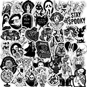 Gothic Stickers for Teens Motorcycle Laptop Skateboard 50PCS Vinyl Waterproof Cool Stickers Horror Skeleton, Black and White Stickers
