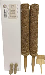 Art of the Bloom 17 Inch Plant Support Totem Pole - 2 Coco Coir Poles - Support Indoor Plants to Grow Upwards - Use Moss Poles Individually or Together