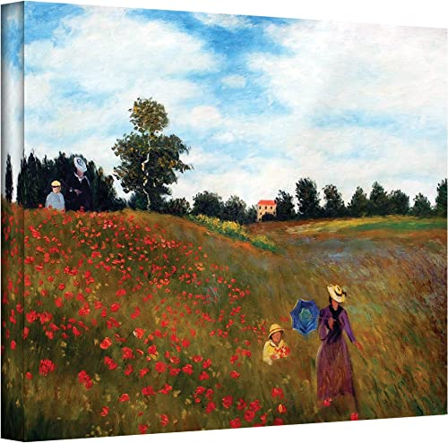 Art Wall Red Poppies at Argenteuil Gallery Wrapped Canvas by Claude Monet, 36 by 48-Inch