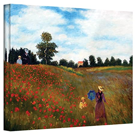 ArtWall Red Poppies at Argenteuil Gallery Wrapped Canvas by Claude Monet, 18 by 24-Inch