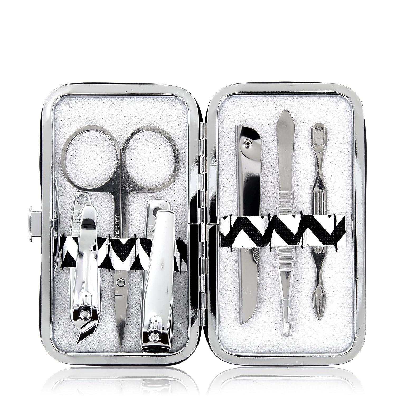 Set per manicure – a sei pezzi di inox/acciaio con un astuccio bianco-nero a chiusura a scatto Moni Gutezeit