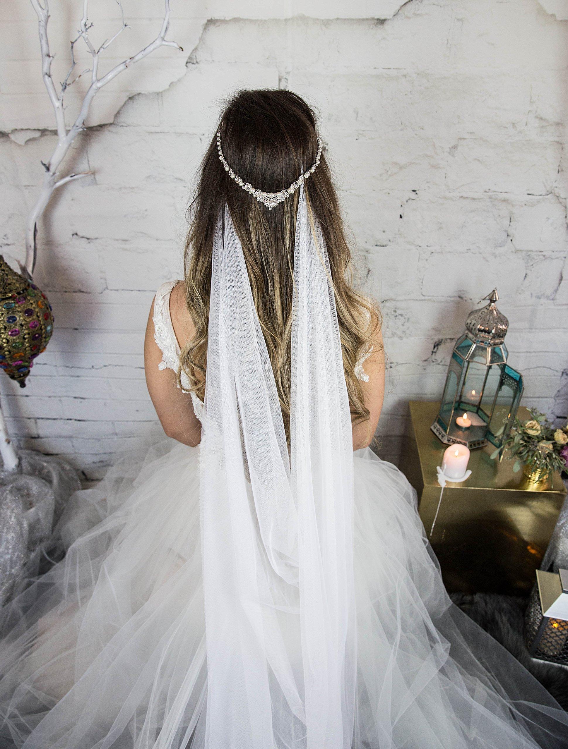 Pearl Headpiece, Bridal Head Chain, Wedding Hair Accessories, Silver Halo Hair Jewelry, Hair Comb for the Bride