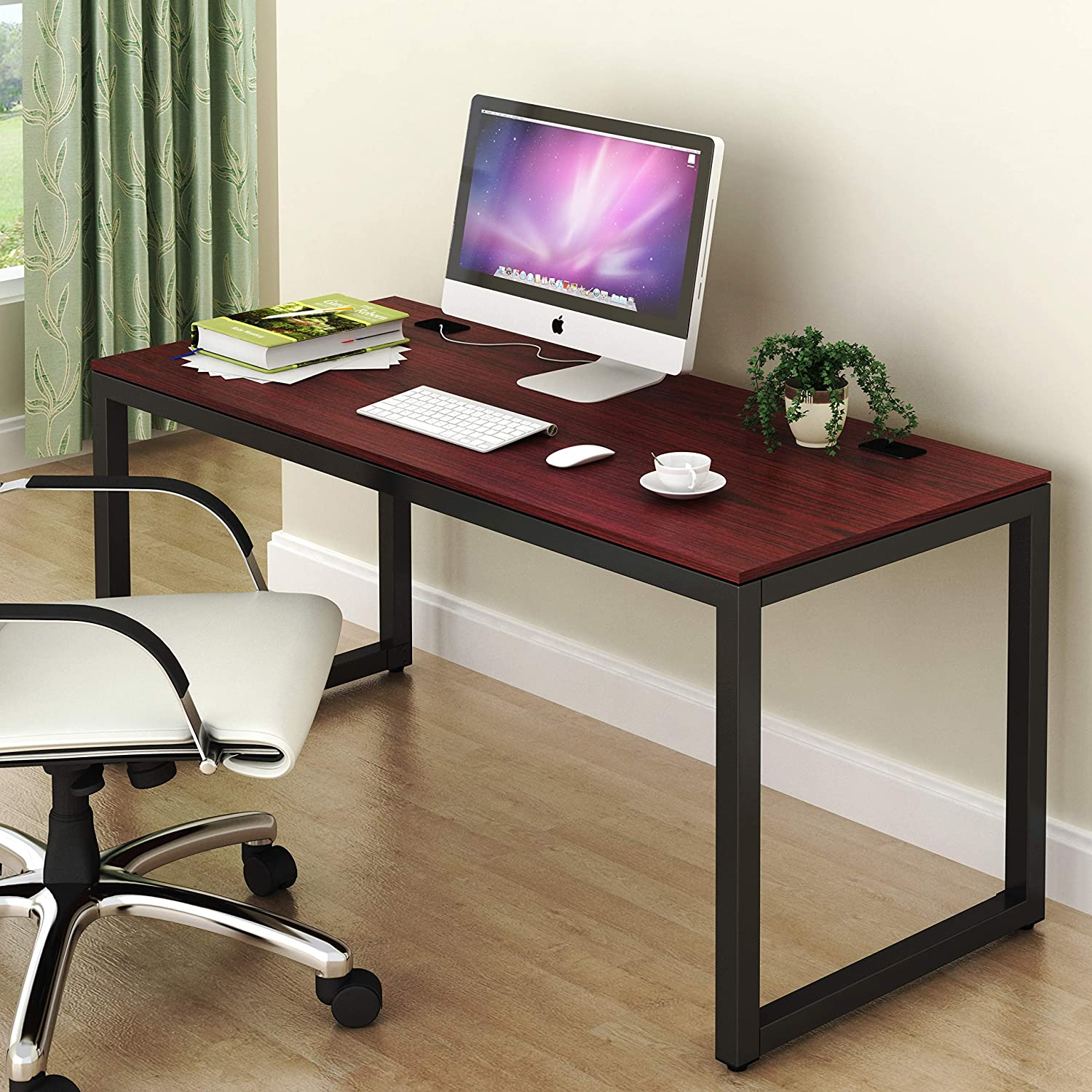 SHW Home Office 55-Inch Large Computer Desk (Cherry)