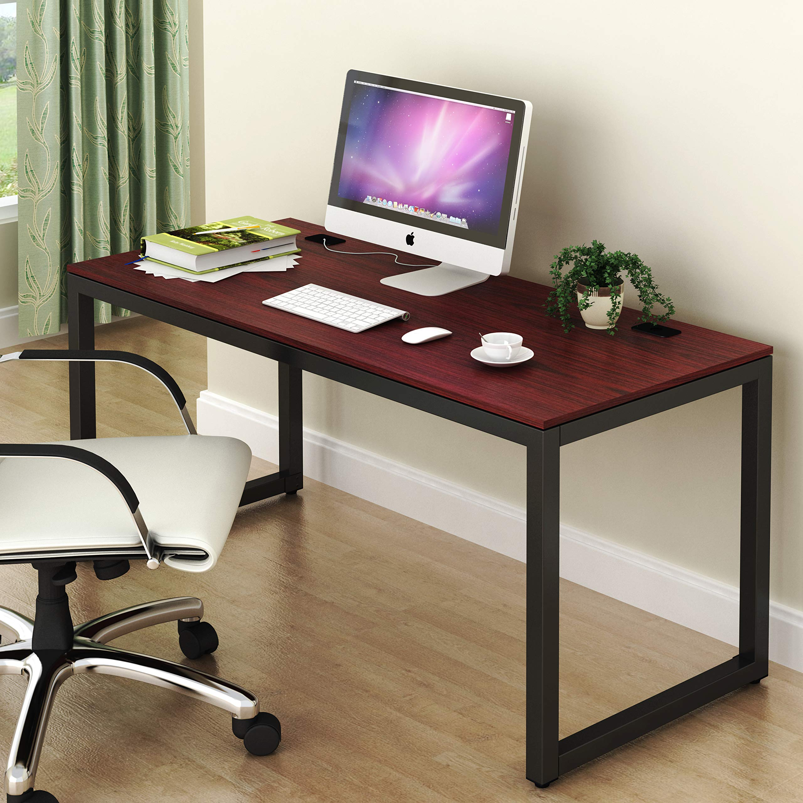 SHW Home Office 55-Inch Large Computer Desk, Cherry by SHW (Image #1)