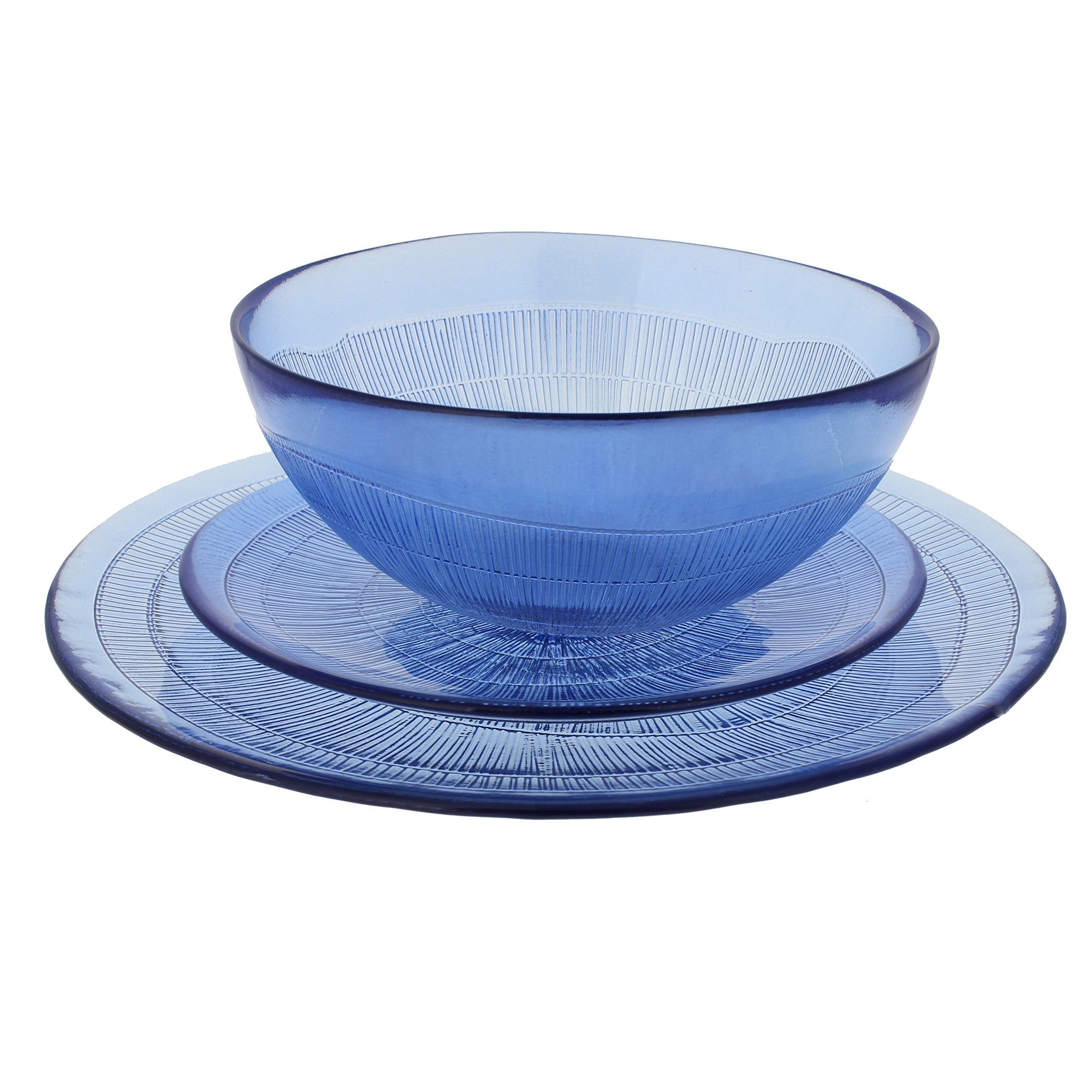 French Home Recycled Glass Dinner Set, Sapphire Blue