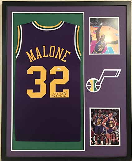 check out 10e42 1142f Karl Malone Autographed Custom Framed Utah Jazz Jersey ...