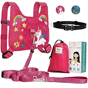 HappyVk Safety Harness for Kids-Anti Lost Walking Toddler Baby Leash-with Drawstring Storage Bag and Belt for Parents-Cute Unicorn Embroidery-Suitable for 1-4 Years Old Boys, Girls