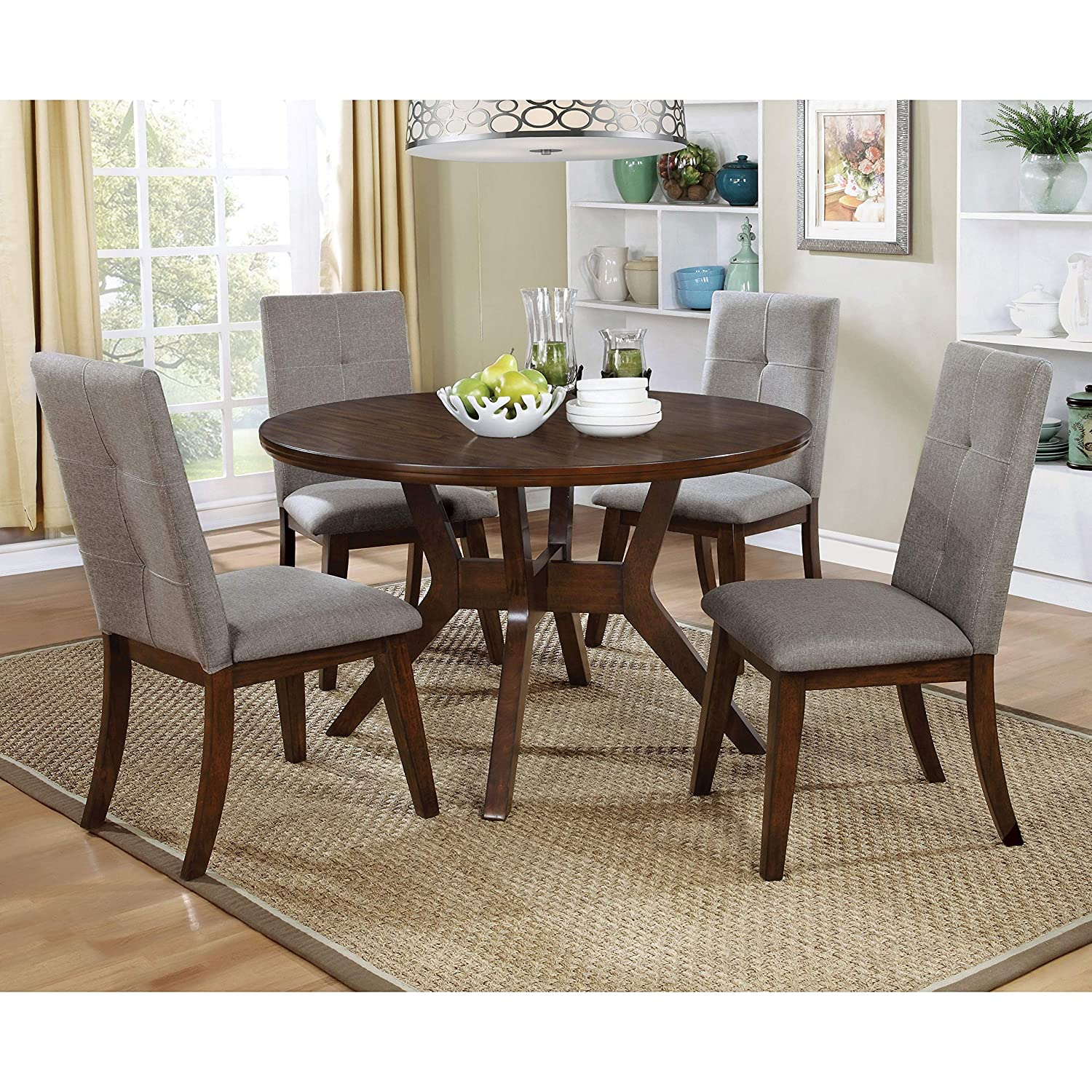 Amazon com furniture of america katrin mid century modern style 48 inch round walnut dining table tables