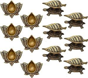 Indian Diwali Oil Lamp Pooja Diya Brass Light Puja Decorations Mandir Decoration Items Lamps Made in India Decorative Wicks Diyas Lotus Kamal Laxmi Deepam & Tortoise Turtle Leaf Vilakku Set of 12-Gold