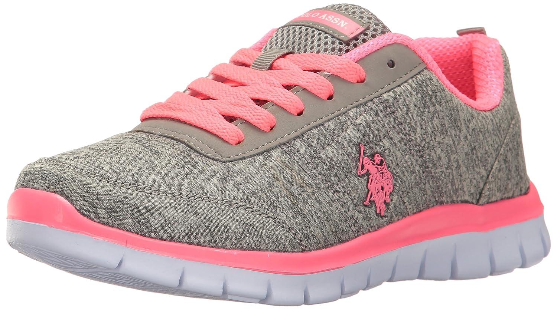 U.S. Polo Assn. Women's Women's Cece Fashion Sneaker B01MZILRE9 7 B(M) US|Grey Heather Jersey/Hot Pink