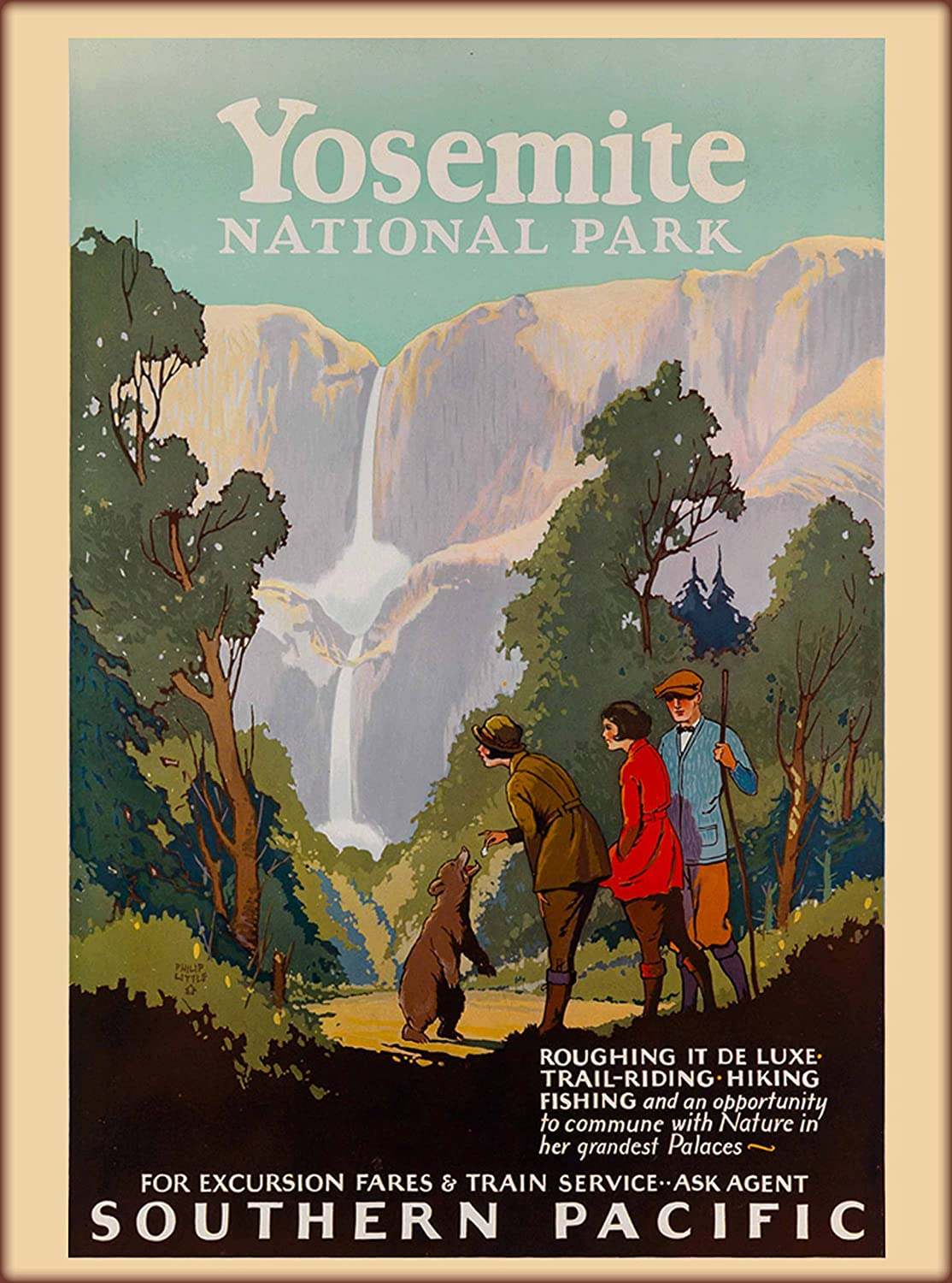 A SLICE IN TIME Yosemite National Park California Southern Pacific Lines Railroad Vintage United States U.S. Advertisement Travel Poster. Poster Measures 10 x 13.5 inches.