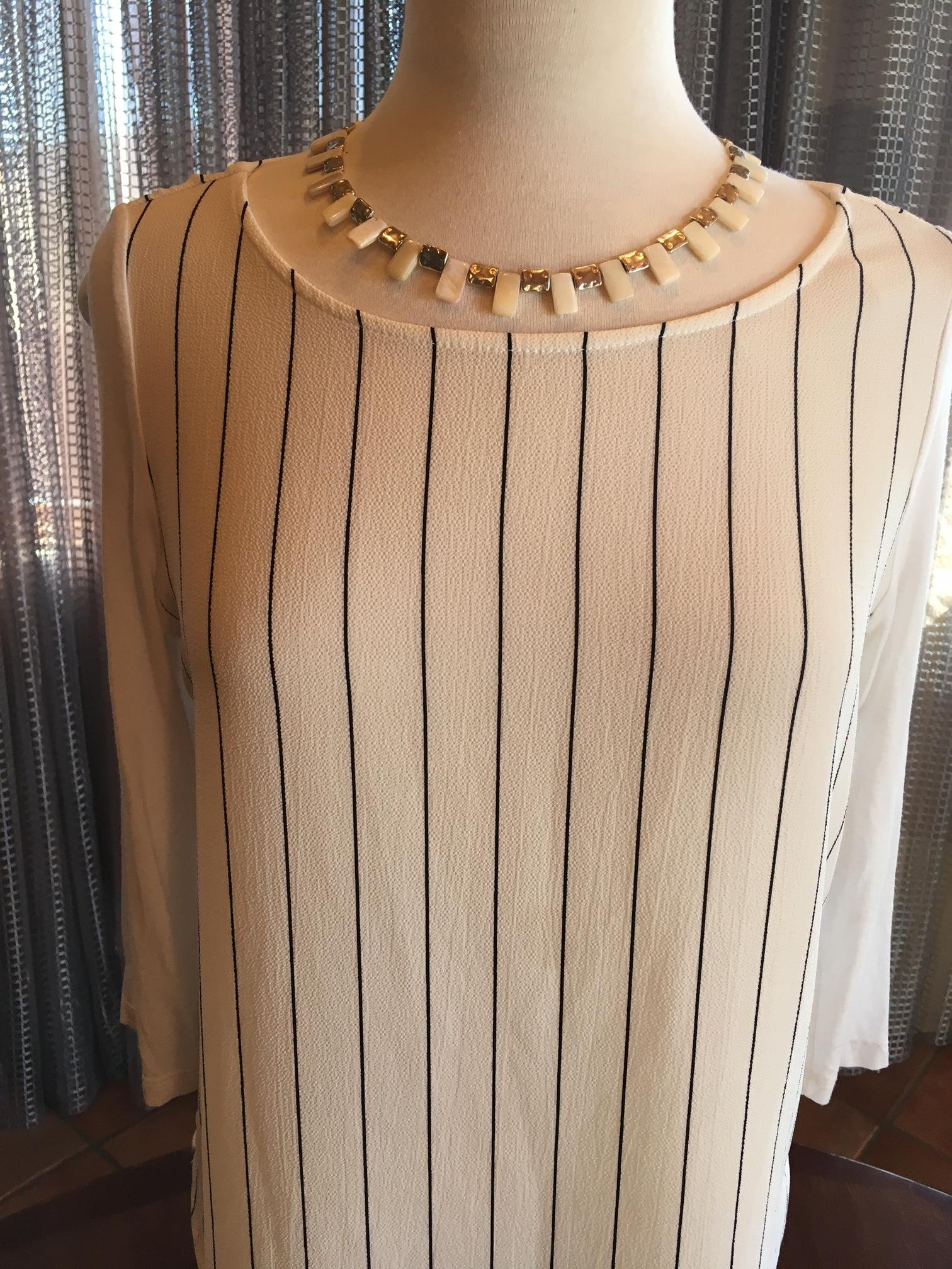Custom Couture Medium Off White tunic with black stripes and White geometric Mother of Pearl necklace 1348