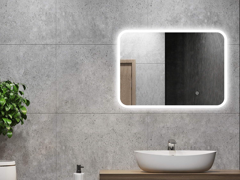 ALLDREI Badspiegel mit Beleuchtung AD39 Badezimmerspiegel LED Licht, Touch Schalter – Senkrecht Waagerecht Montage 70 x 50 cm, Wasserdicth IP44, Weiß